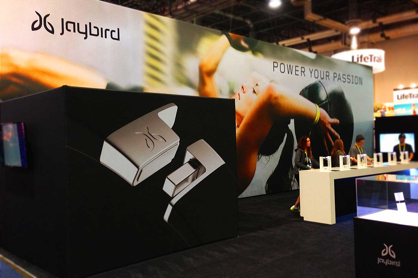 jaybird headsets trade show booth design - bxc designed the jaybird logo